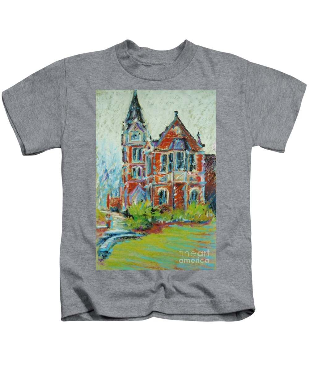 Library Kids T-Shirt featuring the pastel College Life by K M Pawelec