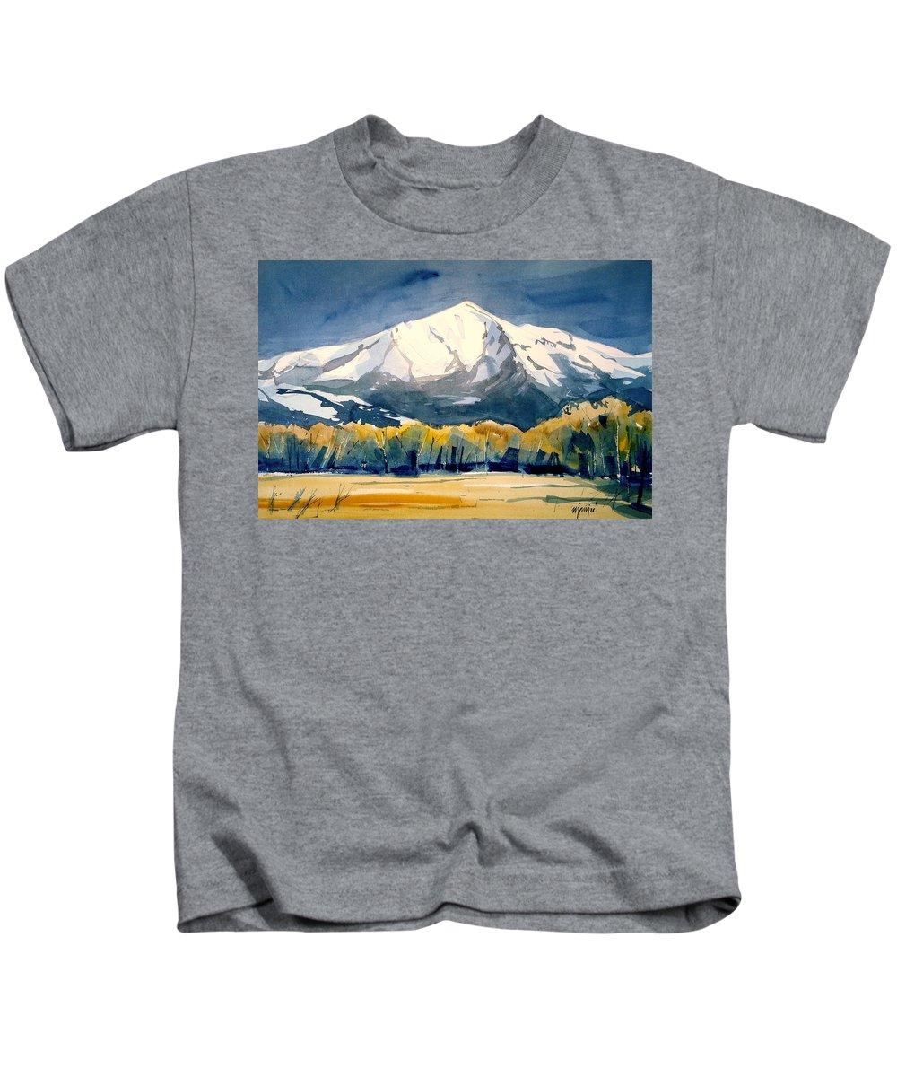 Kids T-Shirt featuring the painting Colorado Fall by Ugljesa Janjic