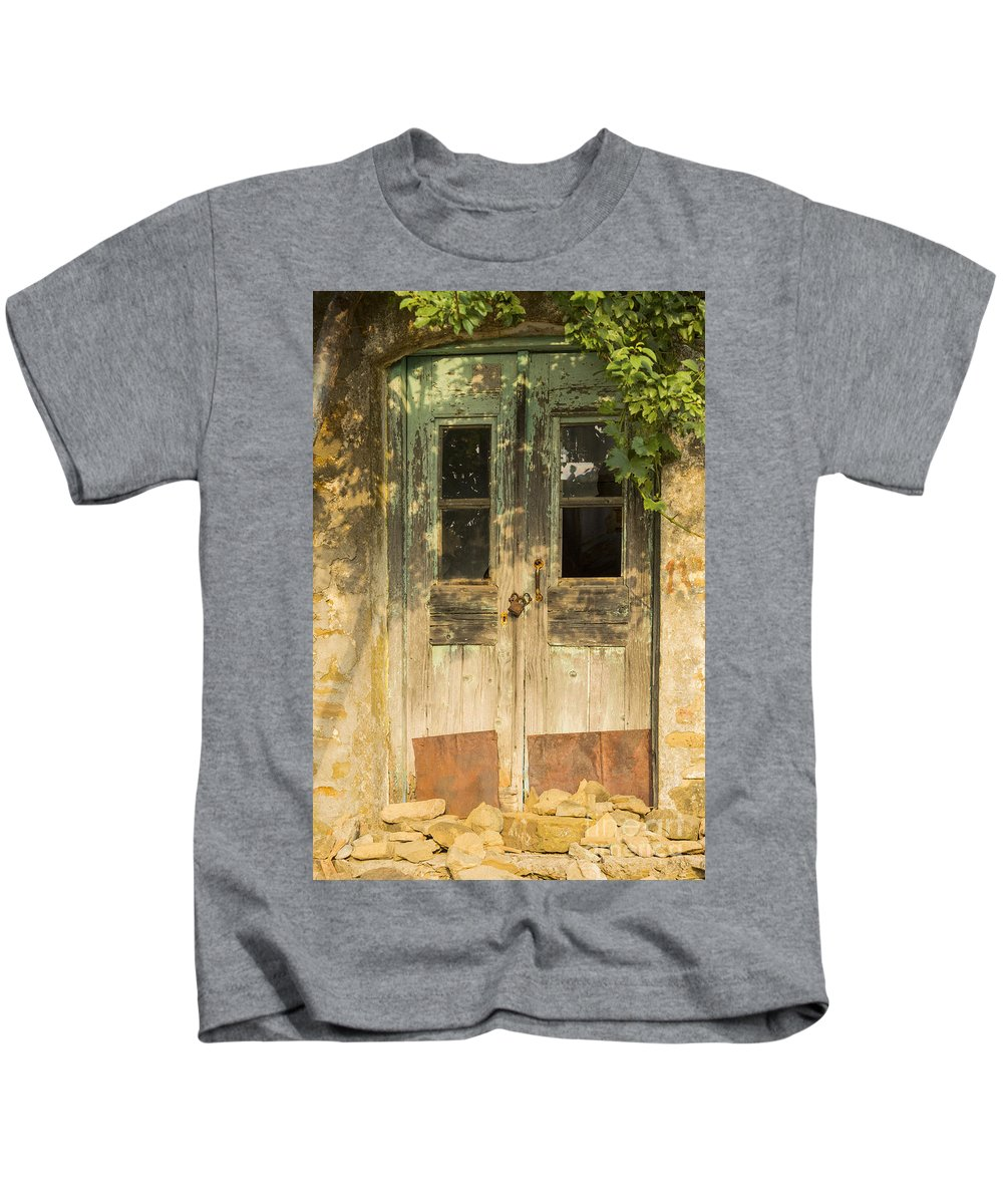Zeytinli Kids T-Shirt featuring the photograph Colorful Zeytinli Village Door by Bob Phillips