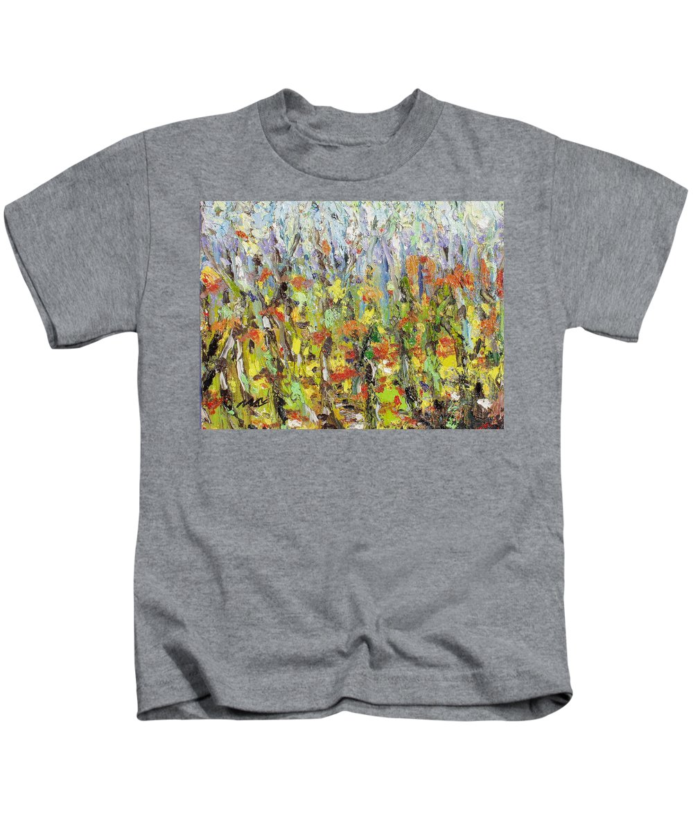 Autumn Abstract Paintings Kids T-Shirt featuring the painting Colorful Forest by Seon-Jeong Kim
