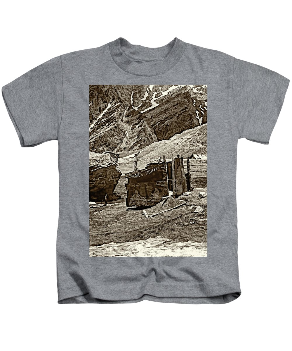 Travel Kids T-Shirt featuring the photograph Comfort Station Sepia by Steve Harrington