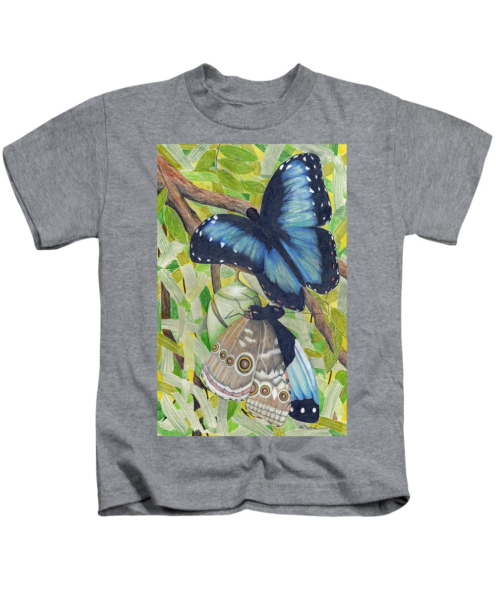 Butterfly Kids T-Shirt featuring the painting Coming Out by Mary Tuomi