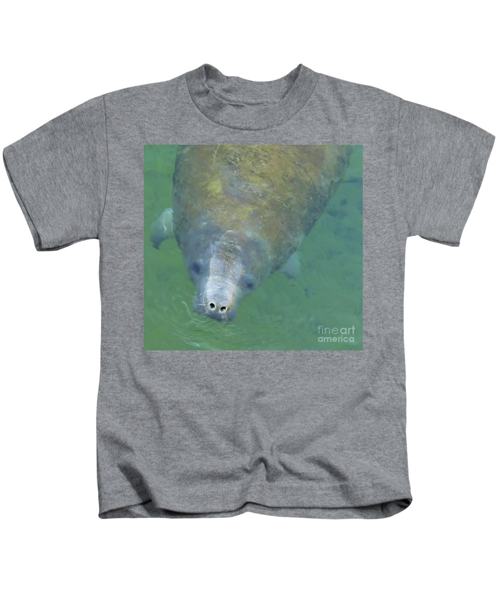Manatee Kids T-Shirt featuring the photograph Coming Up For Air by D Hackett