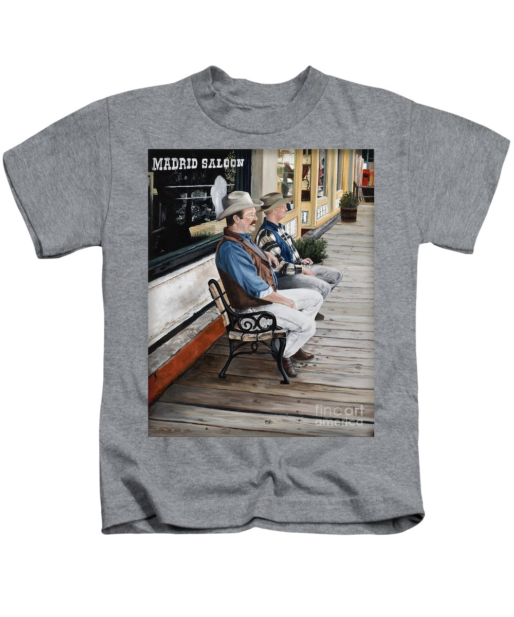 Friends Kids T-Shirt featuring the painting Compadres by Mary Rogers