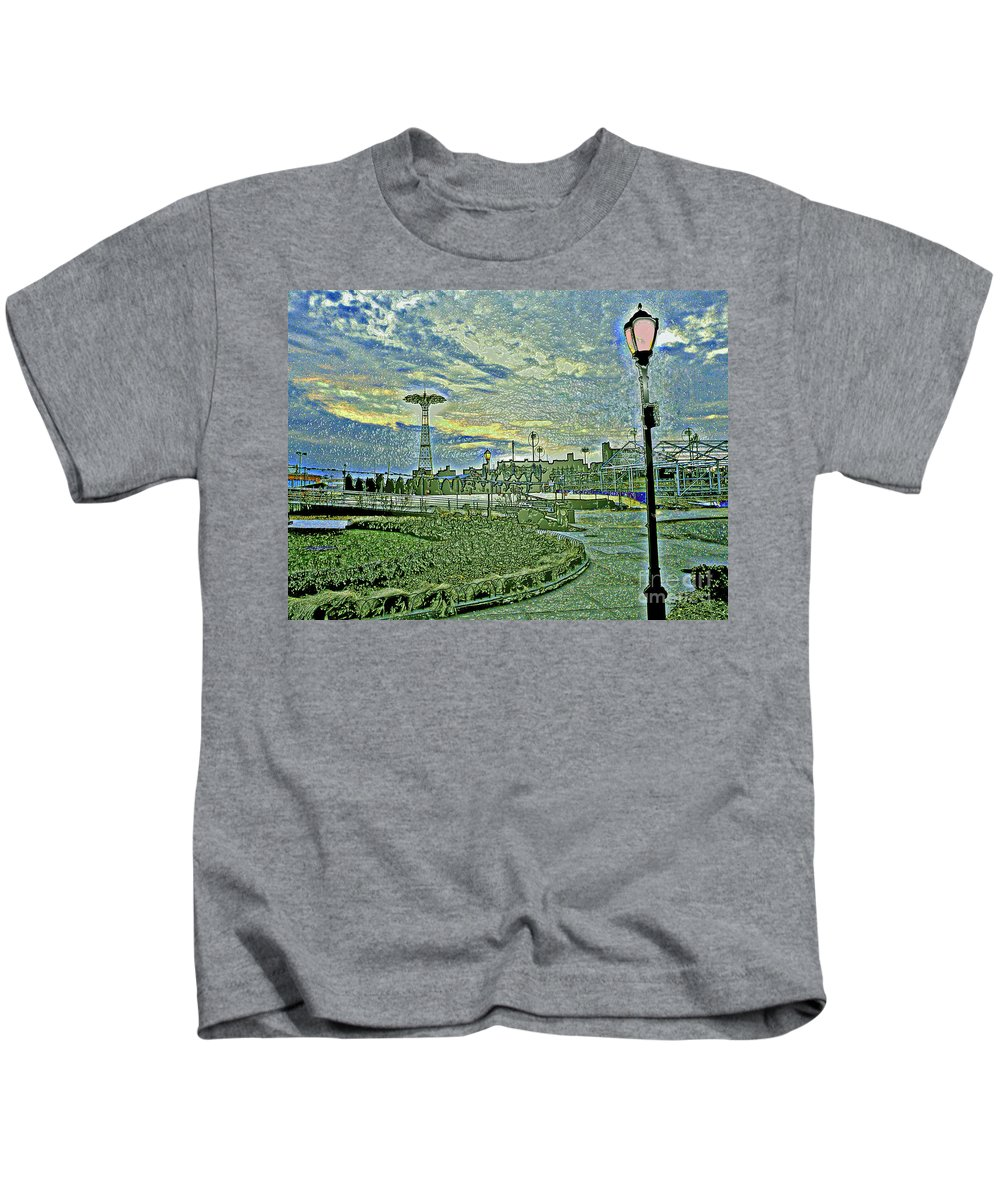 Coney Island Kids T-Shirt featuring the photograph Coney Island by Kendall Eutemey