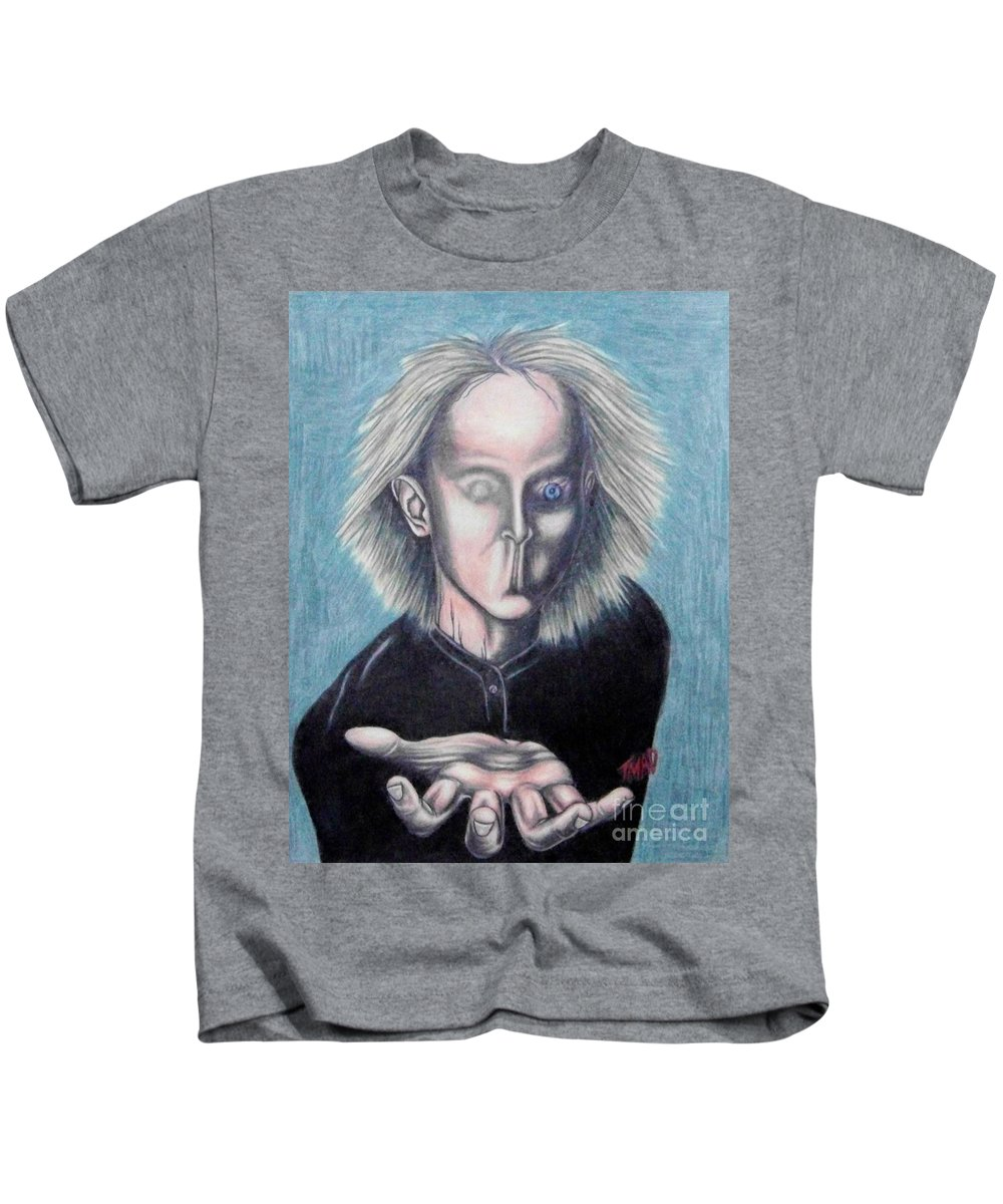 Tmad Kids T-Shirt featuring the drawing Consciousness by Michael TMAD Finney