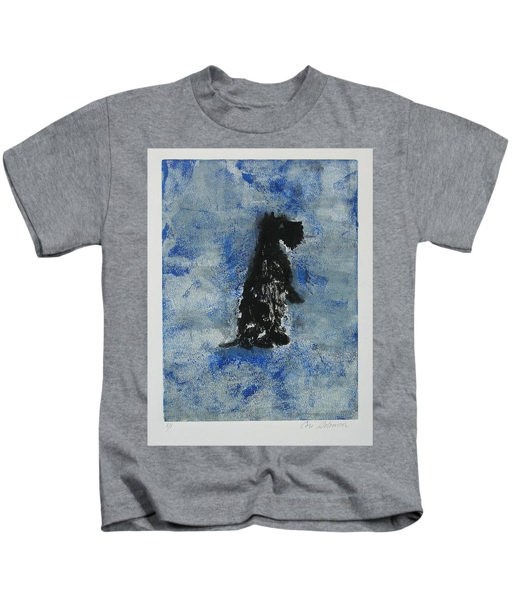 Monotype Kids T-Shirt featuring the mixed media Cool Blue by Cori Solomon