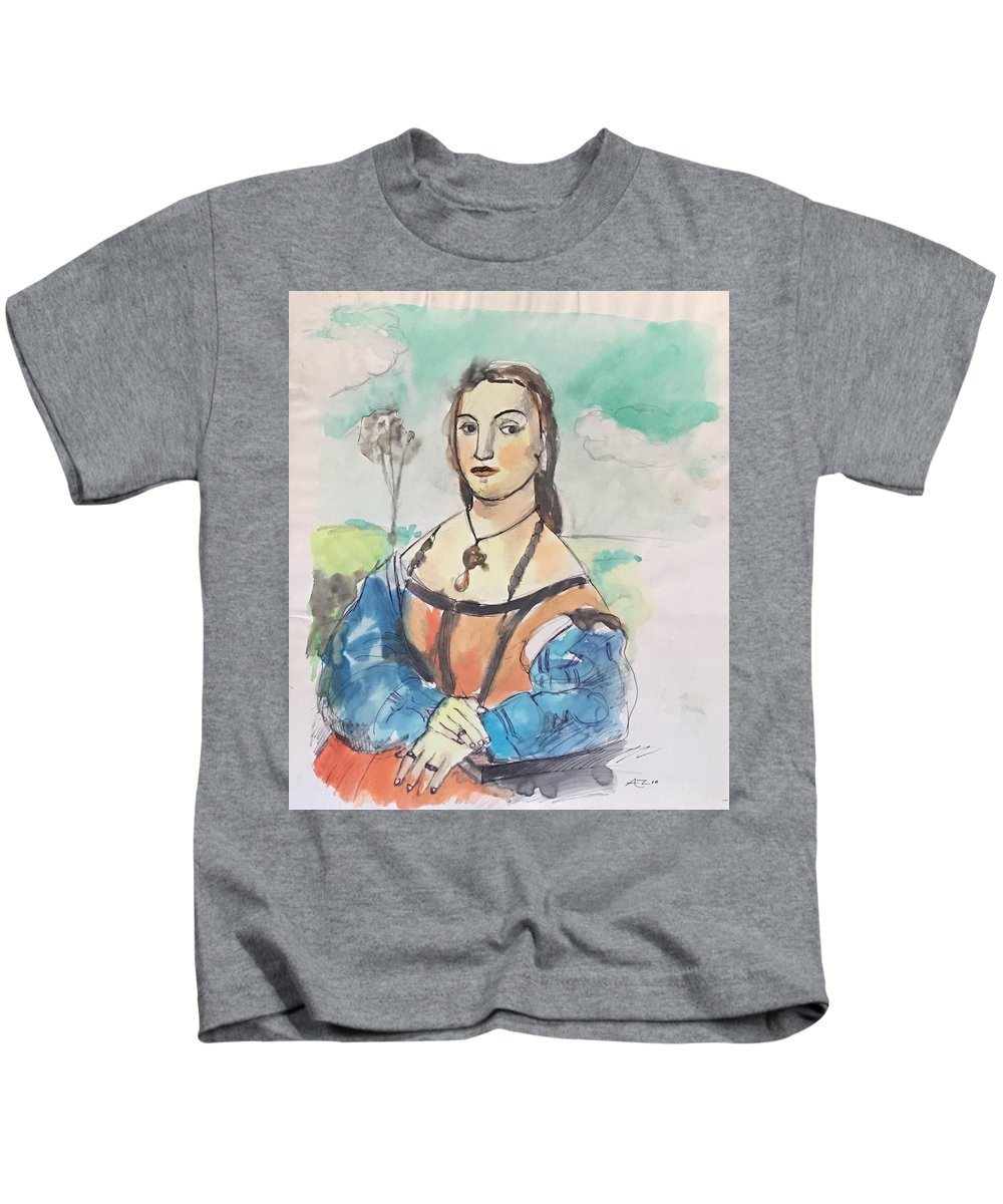 Kids T-Shirt featuring the drawing Copy Of Raphael by Alejandro Lopez-Tasso