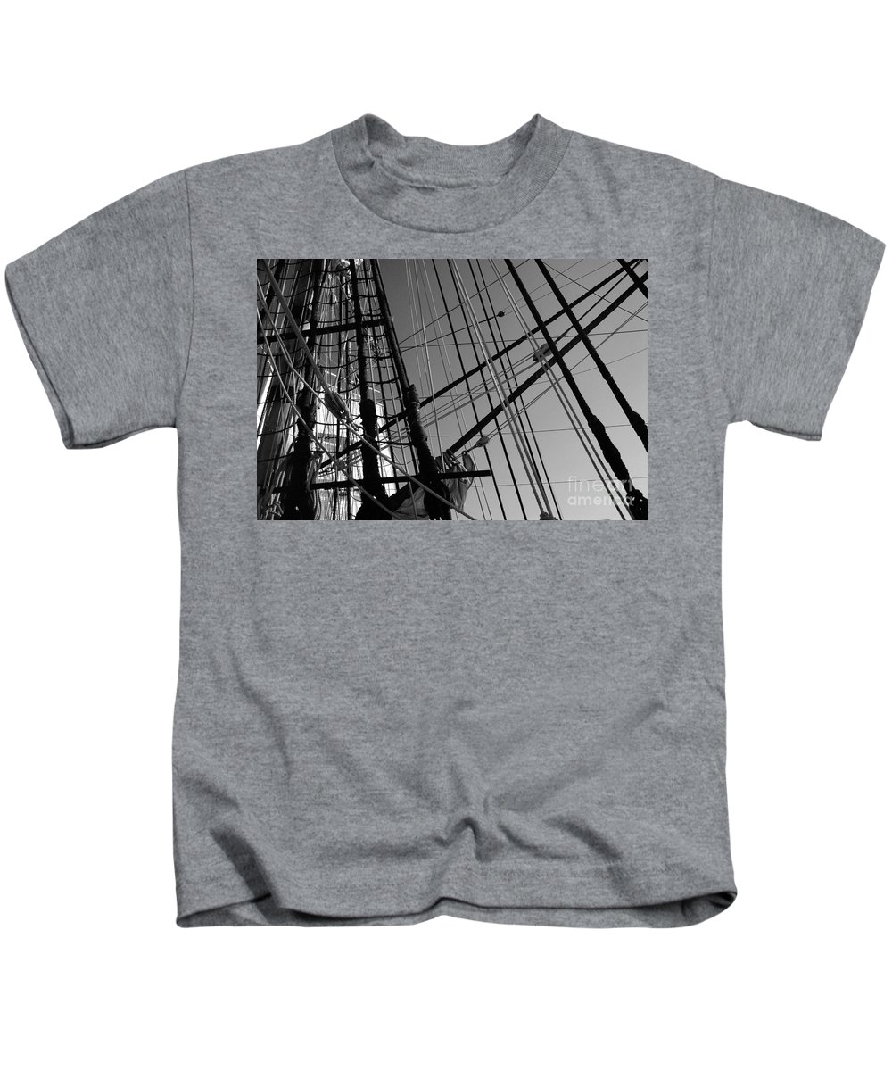 Maritime Kids T-Shirt featuring the photograph Cordage by Linda Shafer