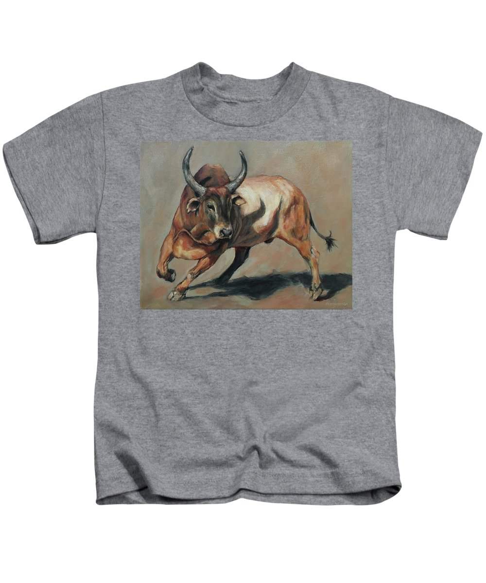 Joan Frimberger Kids T-Shirt featuring the painting Costa Rican Red Bull by Joan Frimberger