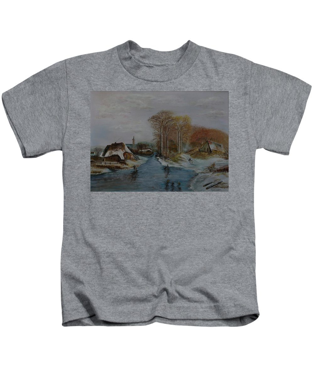 Thatched Roof Cottage Kids T-Shirt featuring the painting Cottage Country - Lmj by Ruth Kamenev