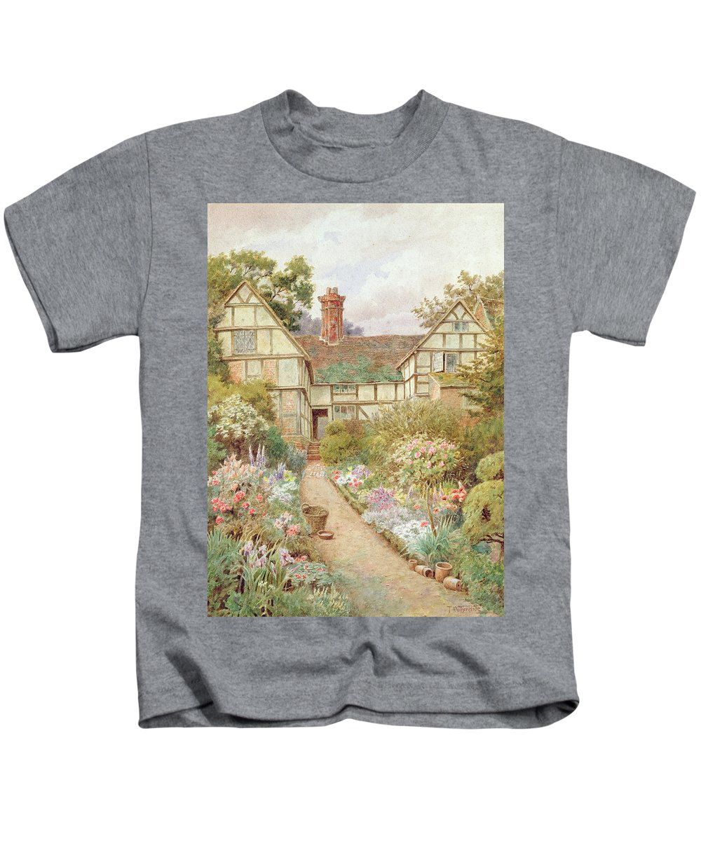 Cottage Kids T-Shirt featuring the painting Cottage Garden by Thomas Nicholson Tyndale