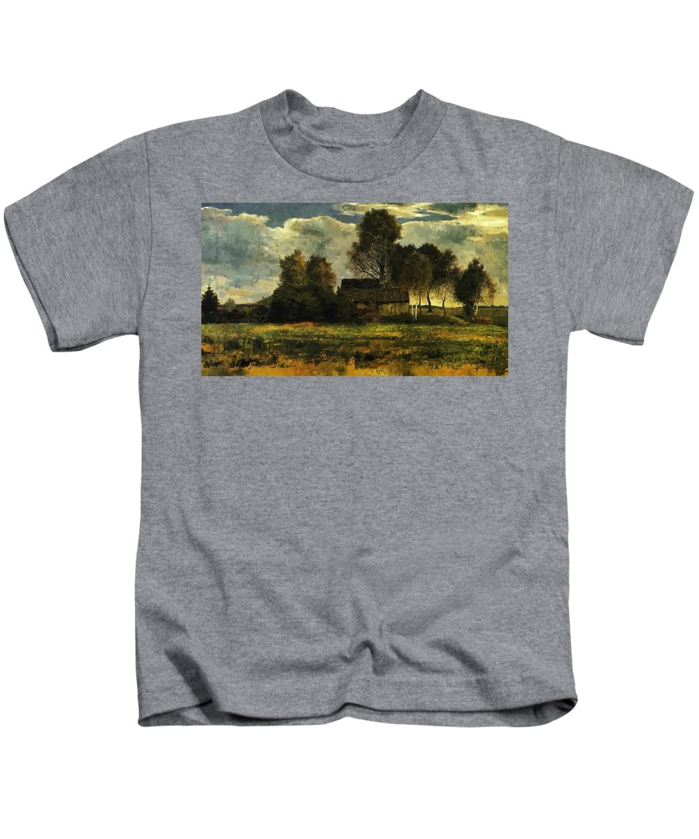 Cottages Kids T-Shirt featuring the painting Cottages On The Dachau Marsh 1902 by Marc Franz