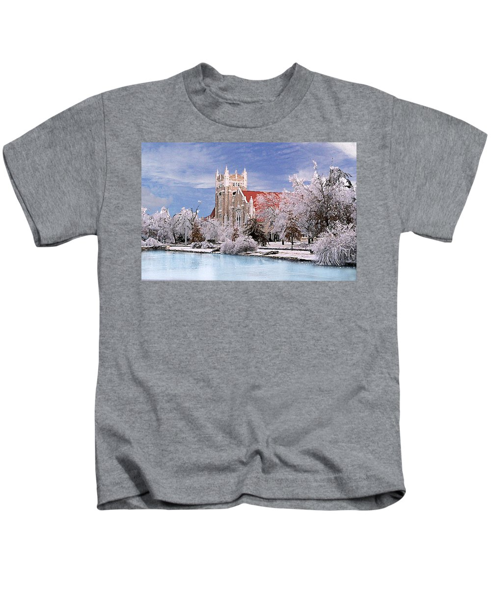 Winter Kids T-Shirt featuring the photograph Country Club Christian Church by Steve Karol