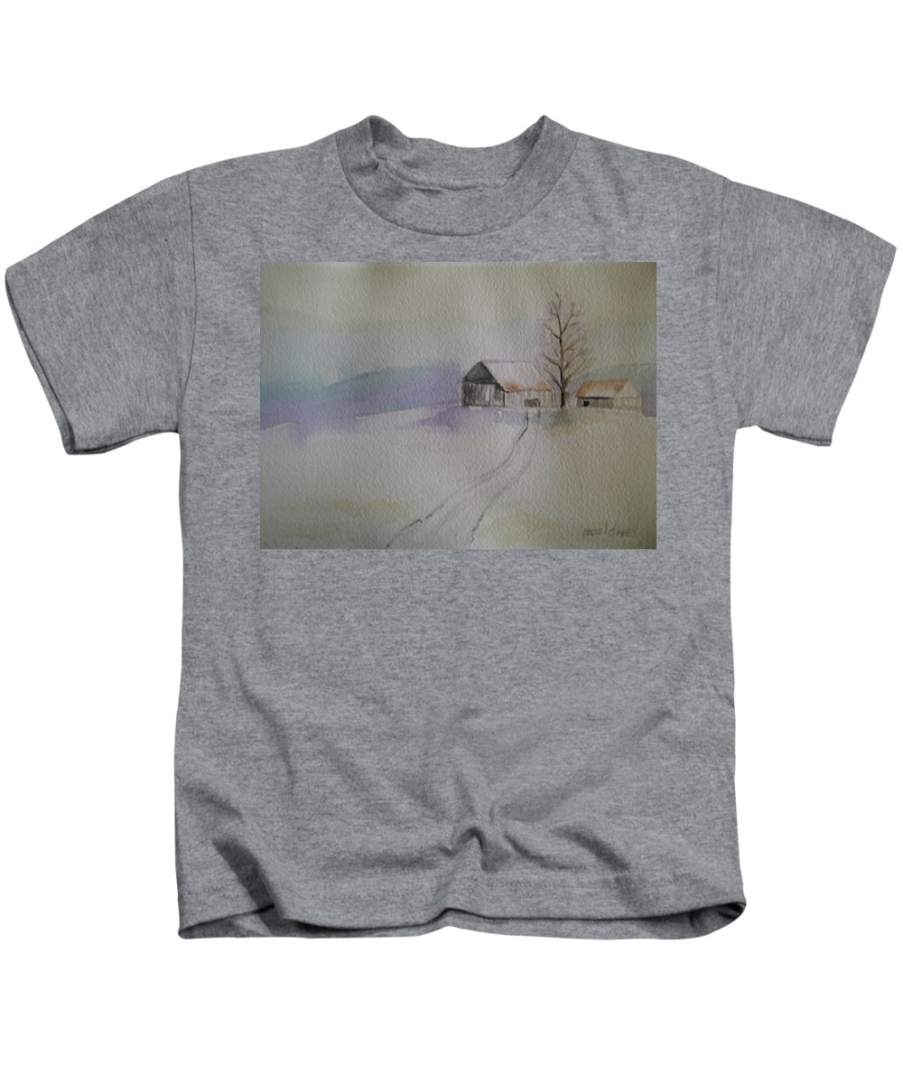 Barn Snow Winter Tree Landscape Cold Kids T-Shirt featuring the painting Country Snow by Patricia Caldwell