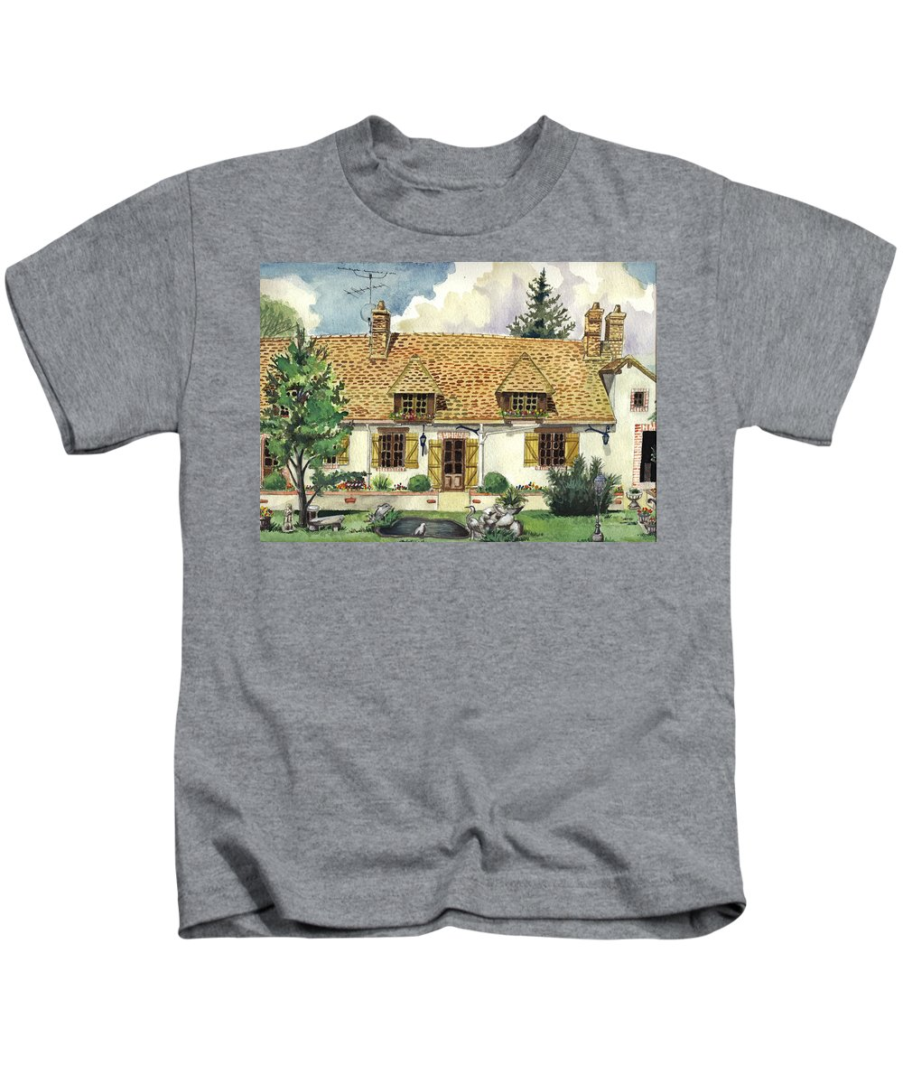 House Kids T-Shirt featuring the painting Countryside House In France by Alban Dizdari