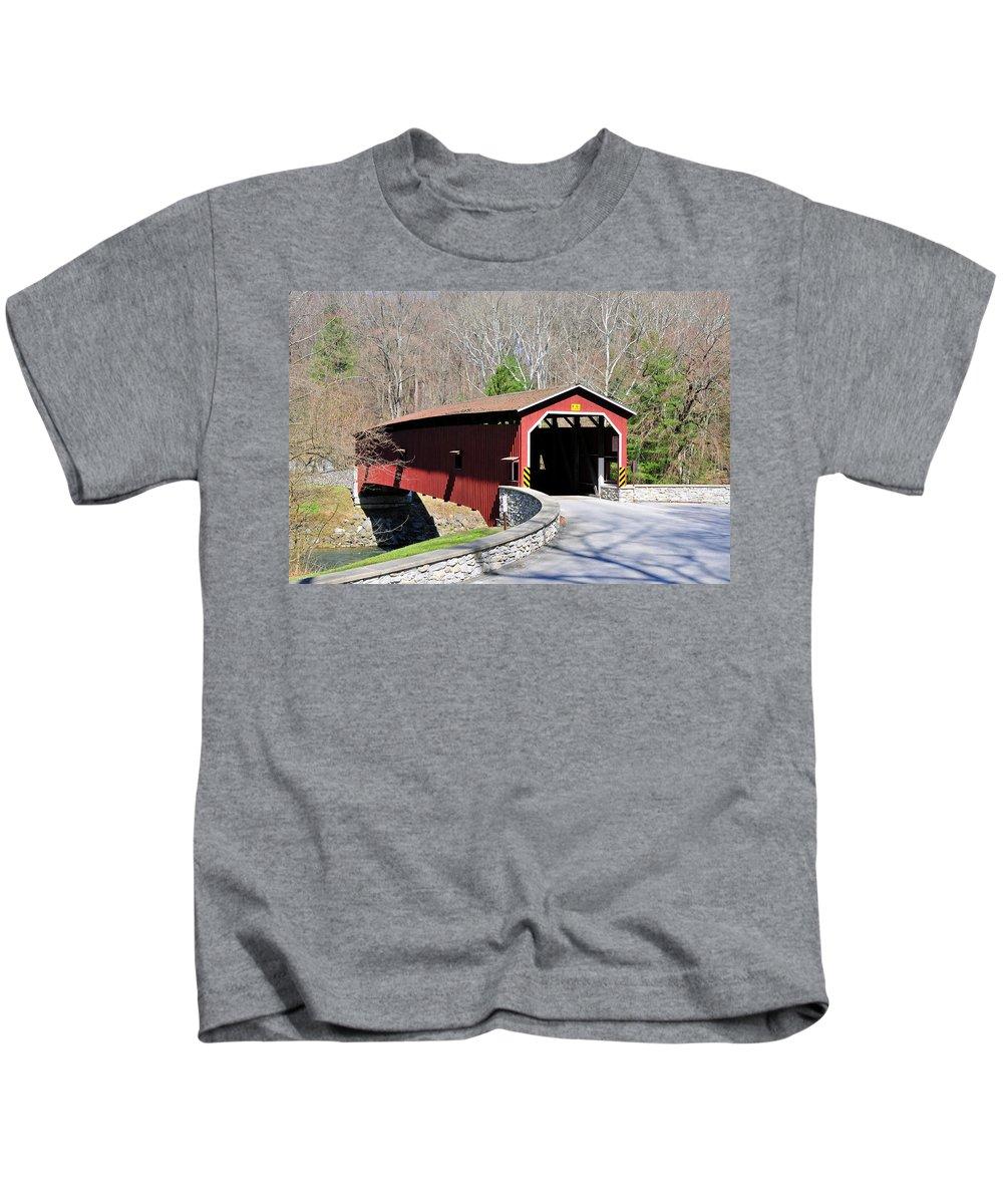 Bridge Kids T-Shirt featuring the photograph Covered Bridge by David Arment