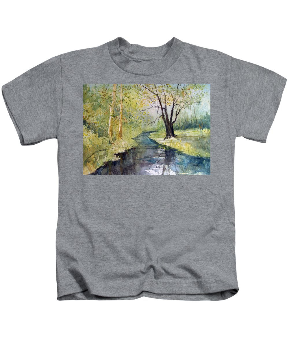 Watercolor Kids T-Shirt featuring the painting Covered Bridge Park by Ryan Radke