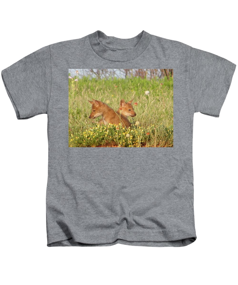Pup Kids T-Shirt featuring the photograph Coyote Pups by Gale Cochran-Smith