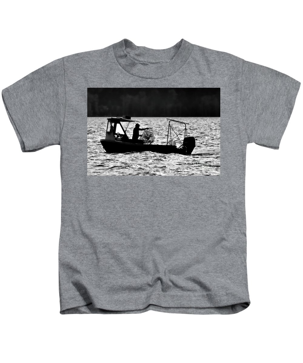 Boat Kids T-Shirt featuring the photograph Crabbing On The Pamlico by Randy Rogers