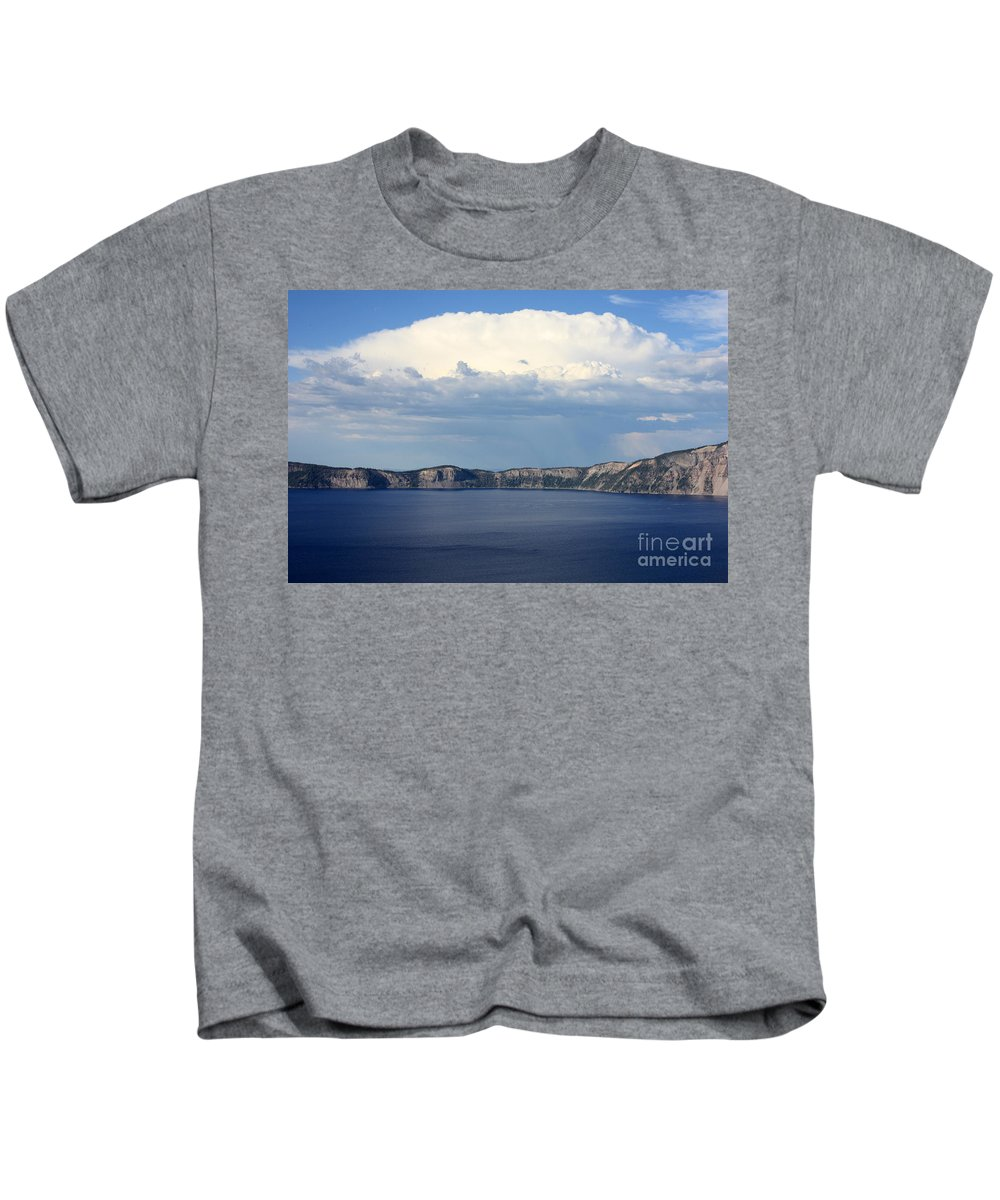 Clouds Kids T-Shirt featuring the photograph Crater Lake by Carol Groenen