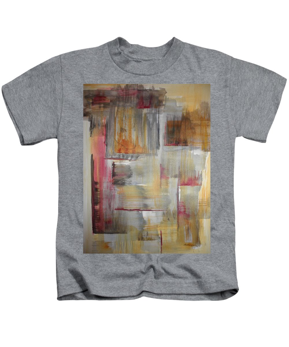 Abstract Kids T-Shirt featuring the painting Crimson Sun by Solenn Carriou