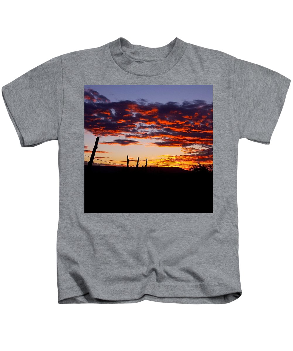 Landscape Kids T-Shirt featuring the photograph Crimson Sunrise by Rudy Gallegos