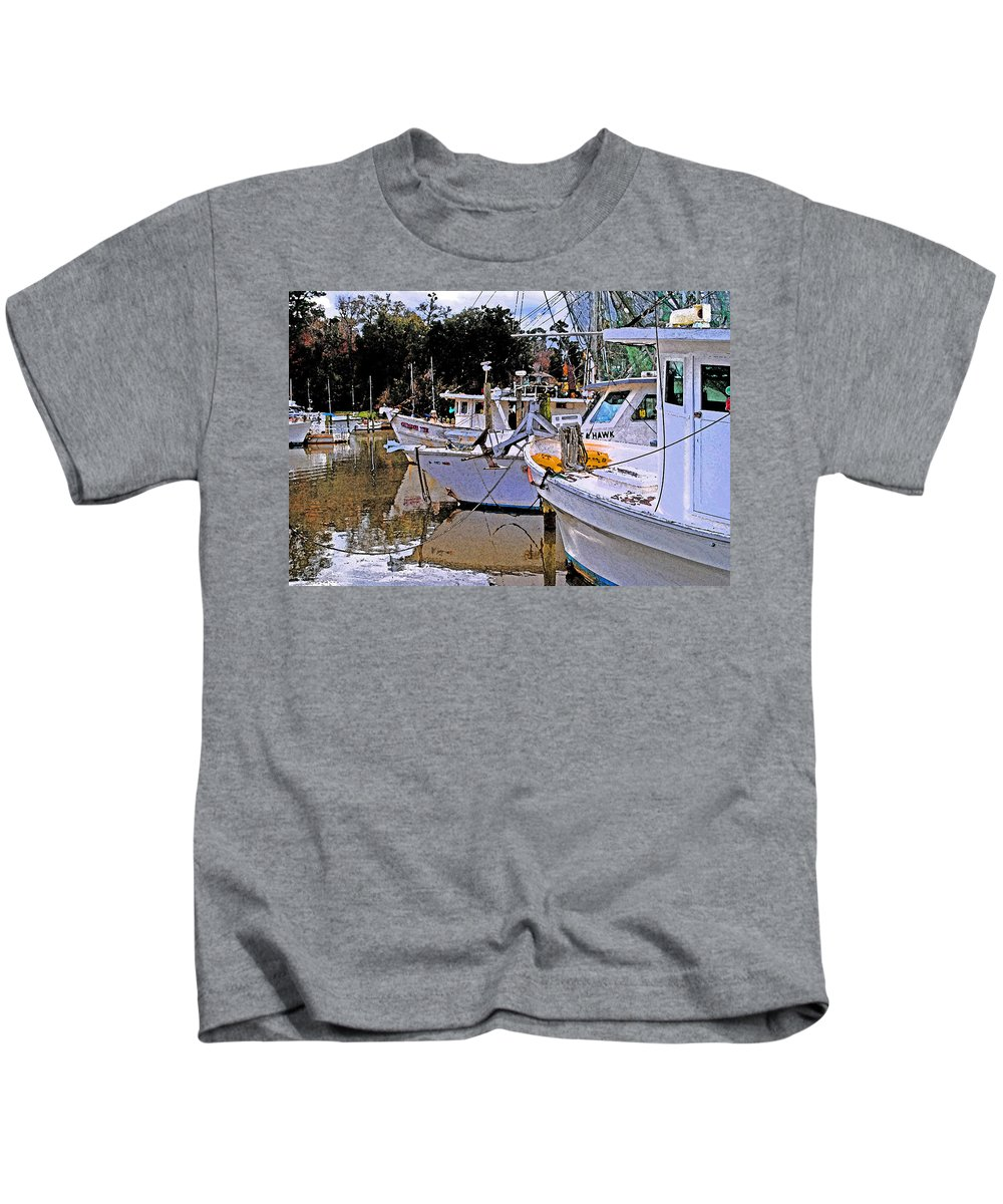 Shrimp Boat Kids T-Shirt featuring the painting Crimson Tide by Michael Thomas