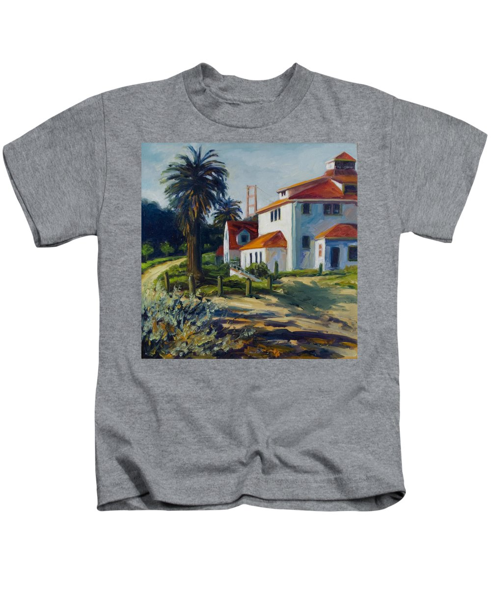 San Francisco Kids T-Shirt featuring the painting Crissy Field by Rick Nederlof