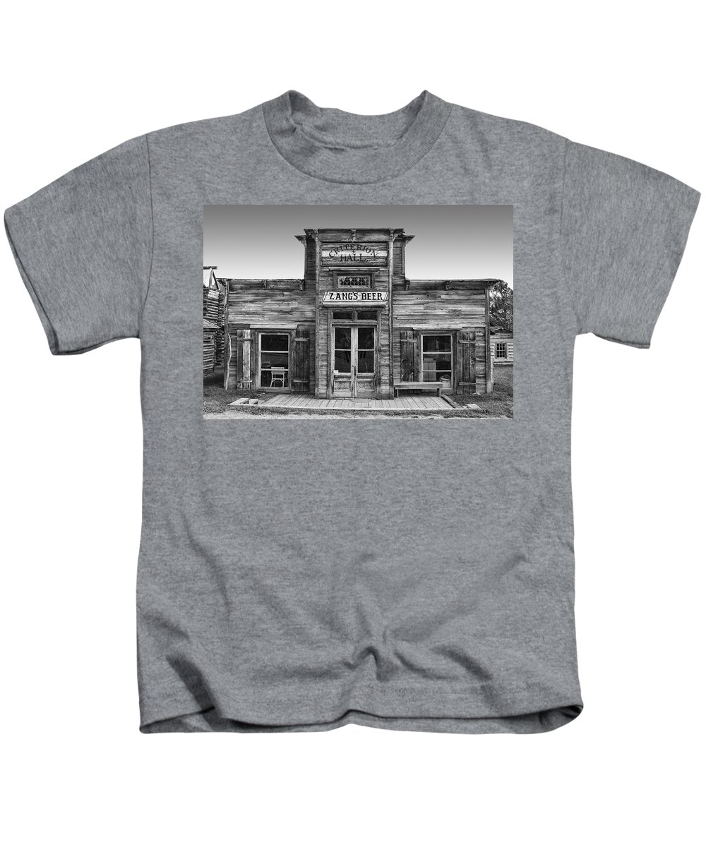 criterion Kids T-Shirt featuring the photograph Criterion Hall Saloon -- Montana Territories by Daniel Hagerman