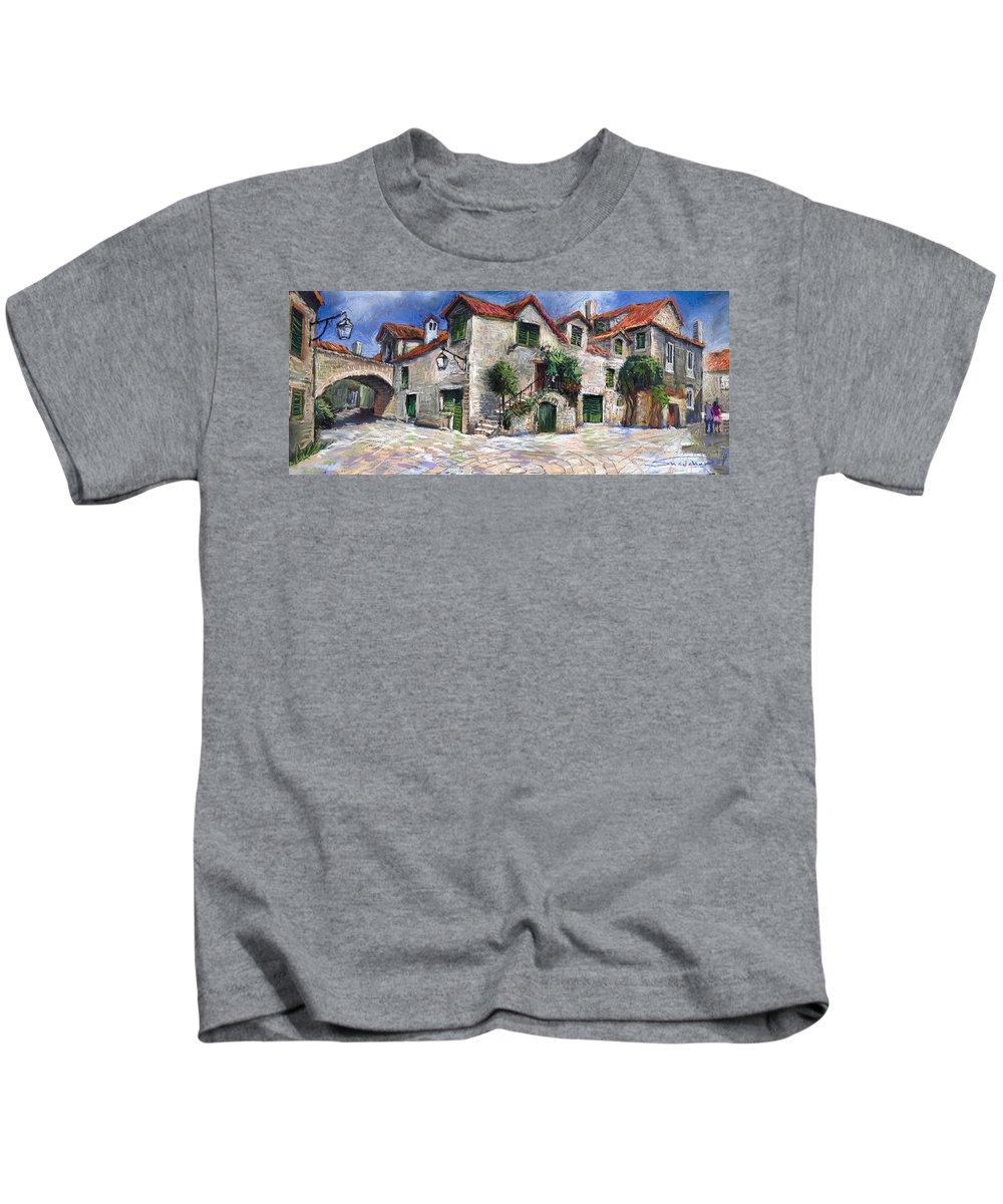 Pastel On Paper Kids T-Shirt featuring the painting Croatia Dalmacia Square by Yuriy Shevchuk