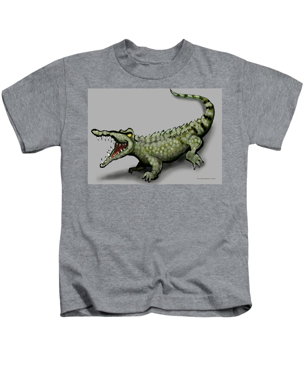 Crocodile Kids T-Shirt featuring the greeting card Crocodile by Kevin Middleton