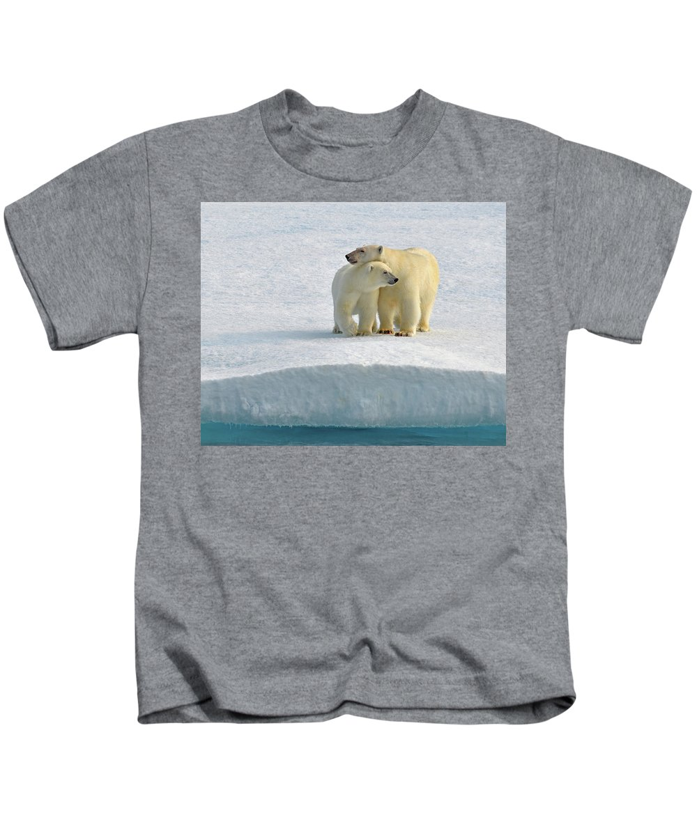 Polar Bear Kids T-Shirt featuring the photograph Crossing by Tony Beck