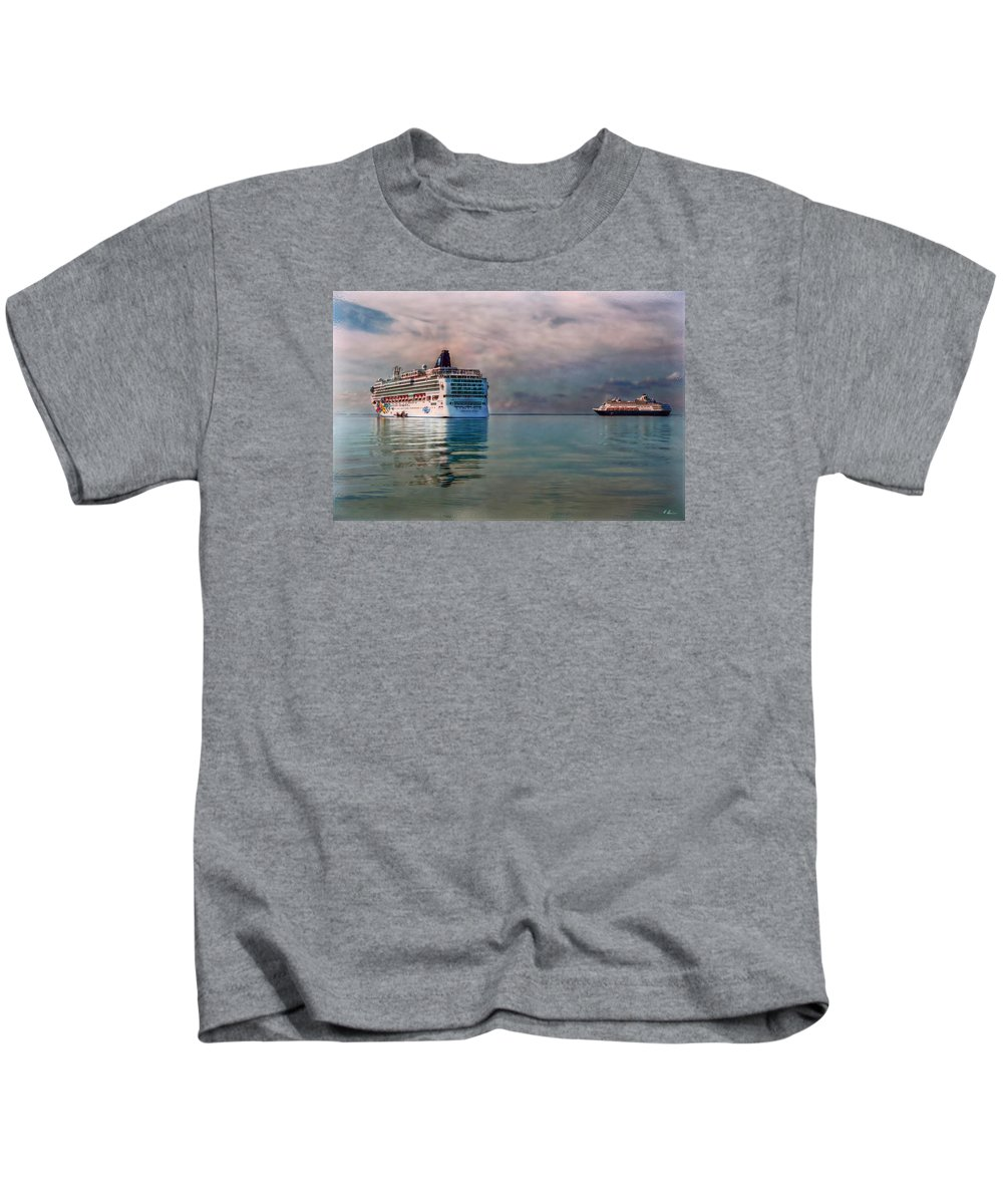 Cruise Ship Kids T-Shirt featuring the photograph Cruise Ship Parking by Hanny Heim