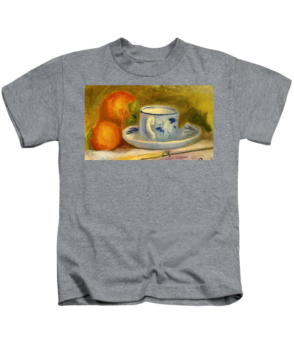 Cup Kids T-Shirt featuring the painting Cup And Oranges by Renoir PierreAuguste