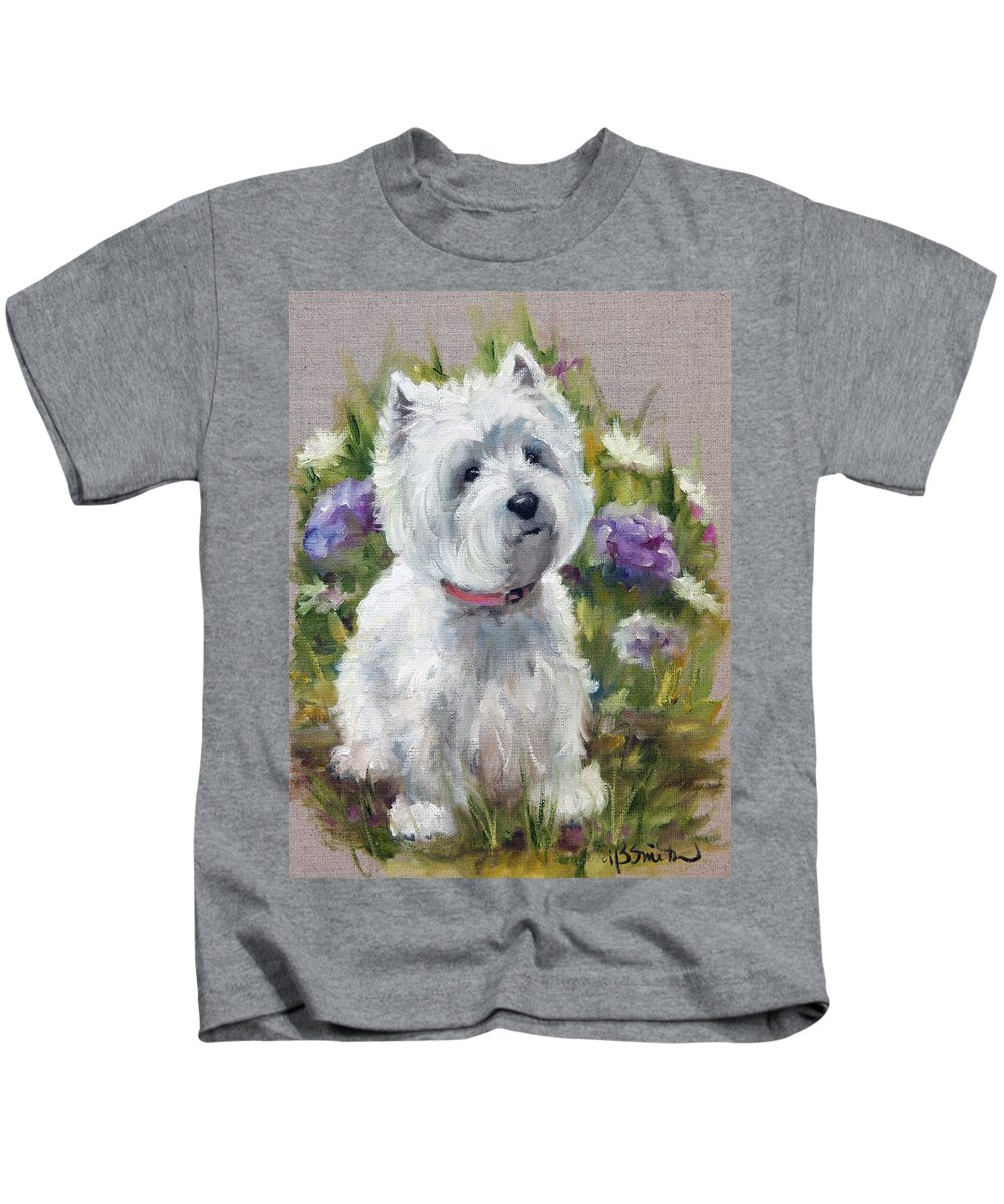 Art Kids T-Shirt featuring the painting Curiosity by Mary Sparrow