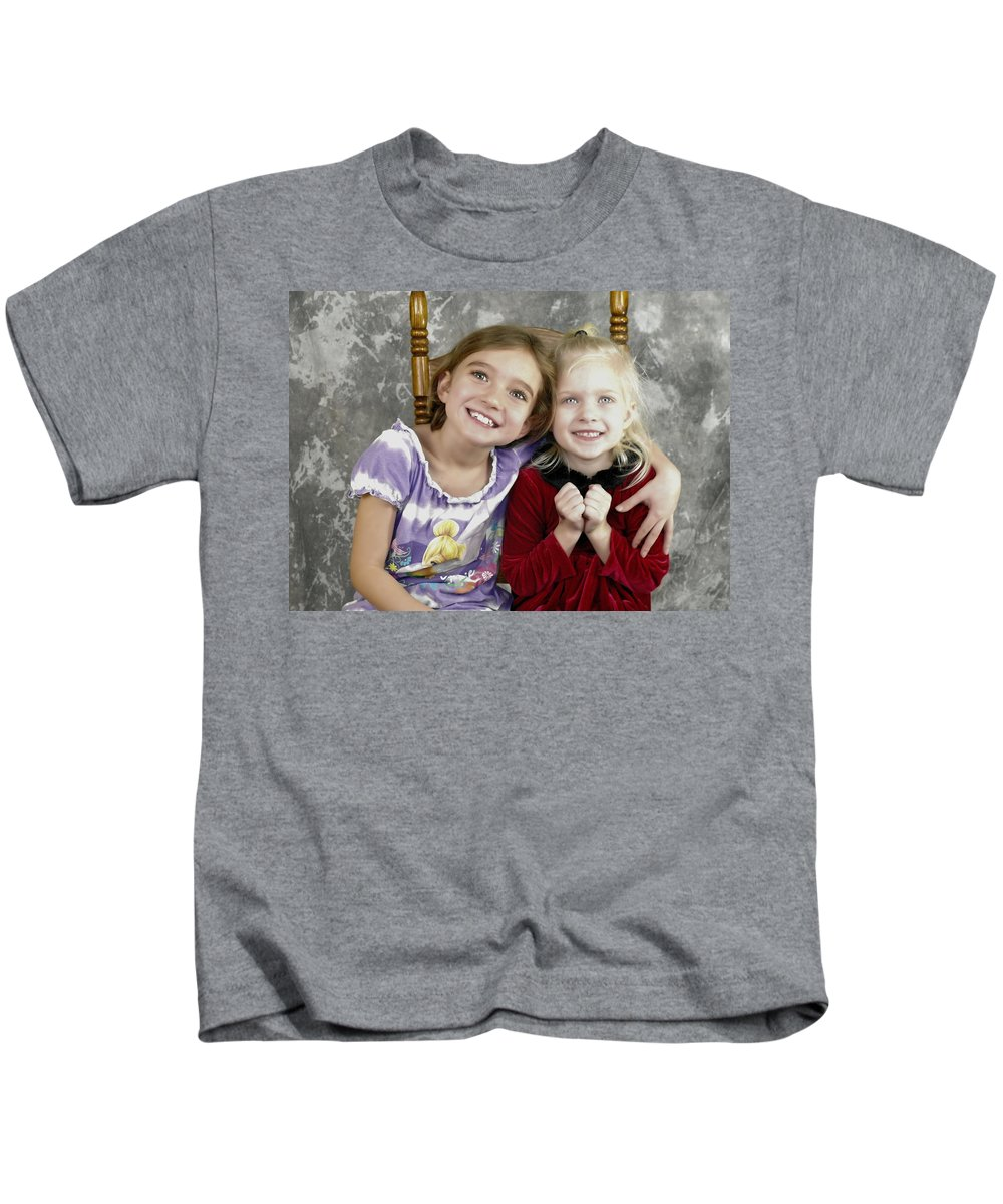 Portrait Kids T-Shirt featuring the photograph Cuzins by Jeff Swan