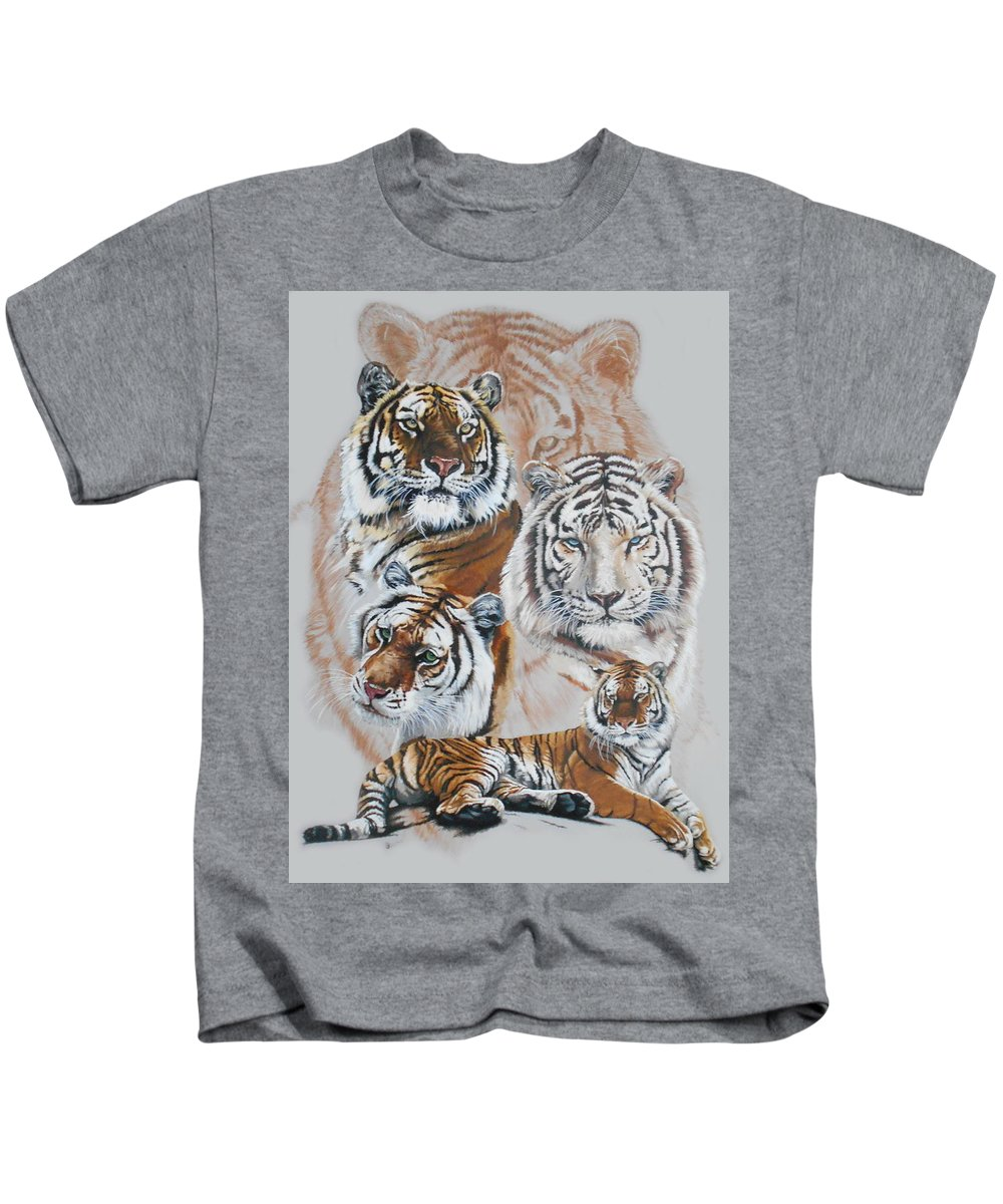 Big Cat Kids T-Shirt featuring the mixed media Czar by Barbara Keith