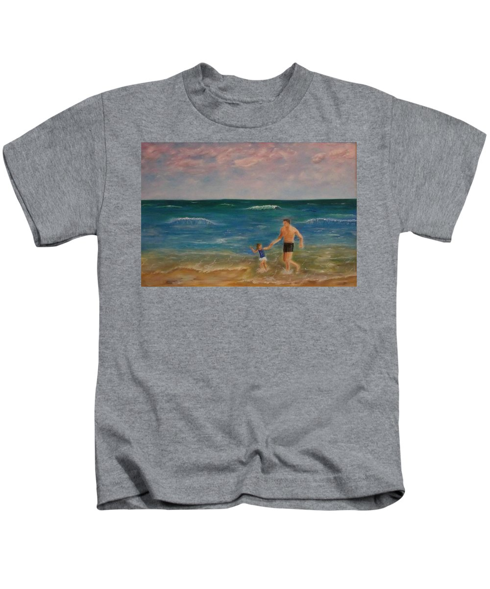 Seascape Kids T-Shirt featuring the painting Daddys Girl by Stephen King