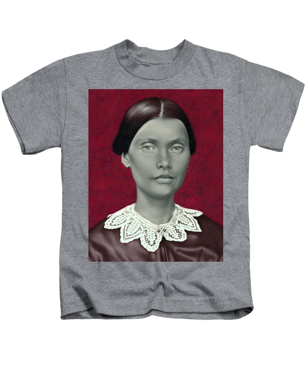 Photorealism Kids T-Shirt featuring the drawing Daguerreotype Lady Detail by Chuck Bowden