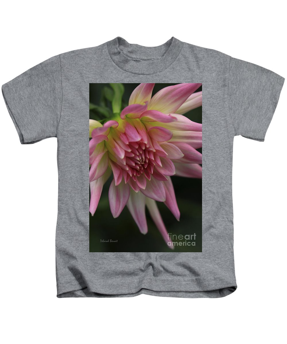 Flower Kids T-Shirt featuring the photograph Dahlia In Pink by Deborah Benoit