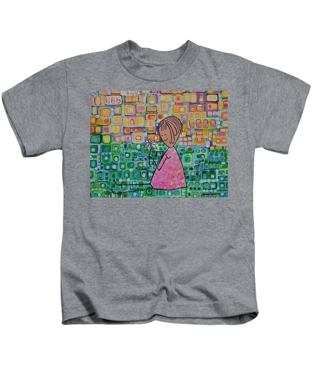 Daisy Kids T-Shirt featuring the painting Daisy by Donna Howard