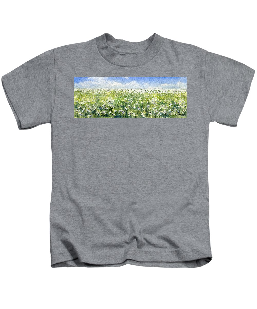 Nature Kids T-Shirt featuring the painting Daisy Field by Mary Tuomi