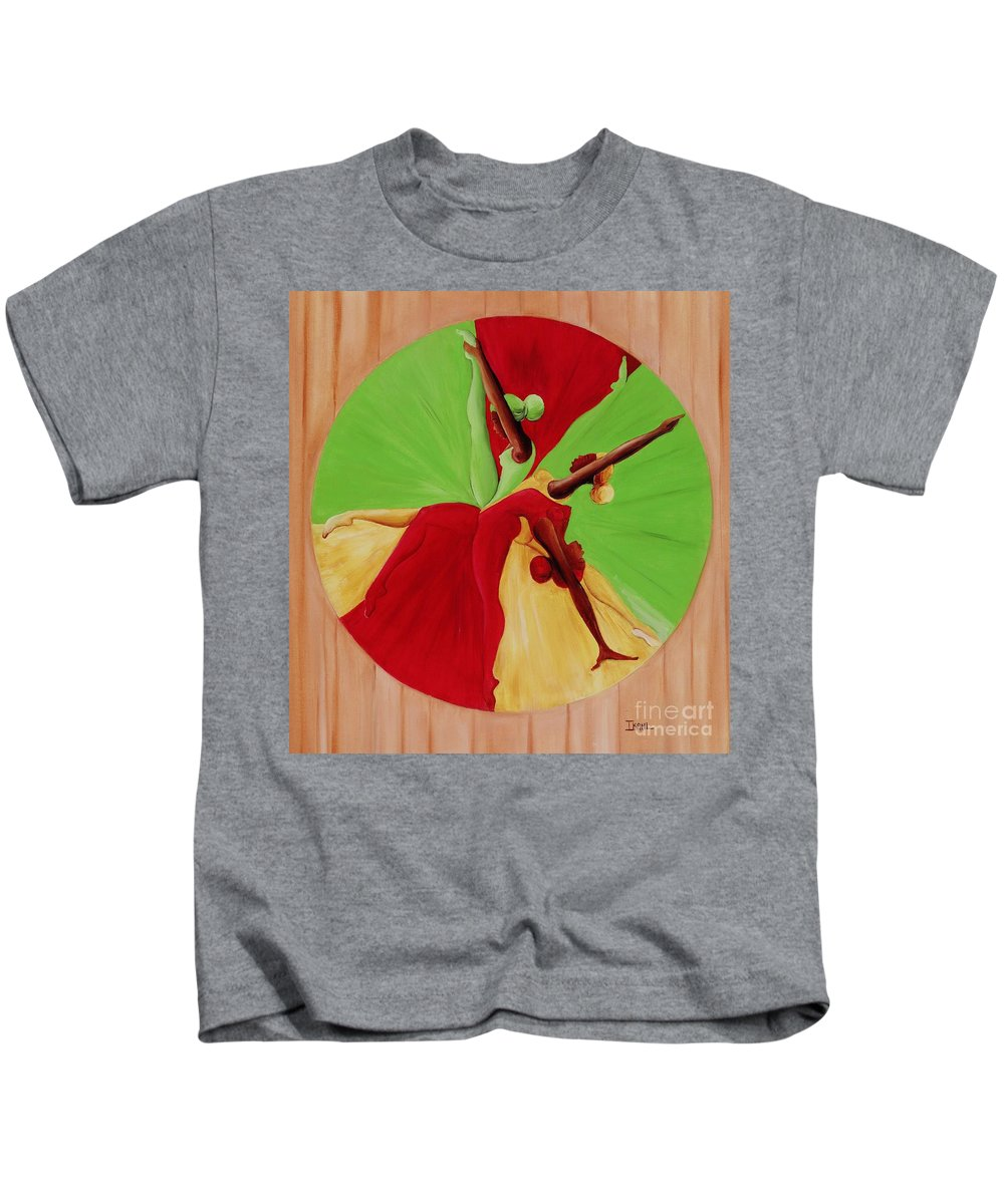 Dancing Kids T-Shirt featuring the painting Dance Circle by Ikahl Beckford