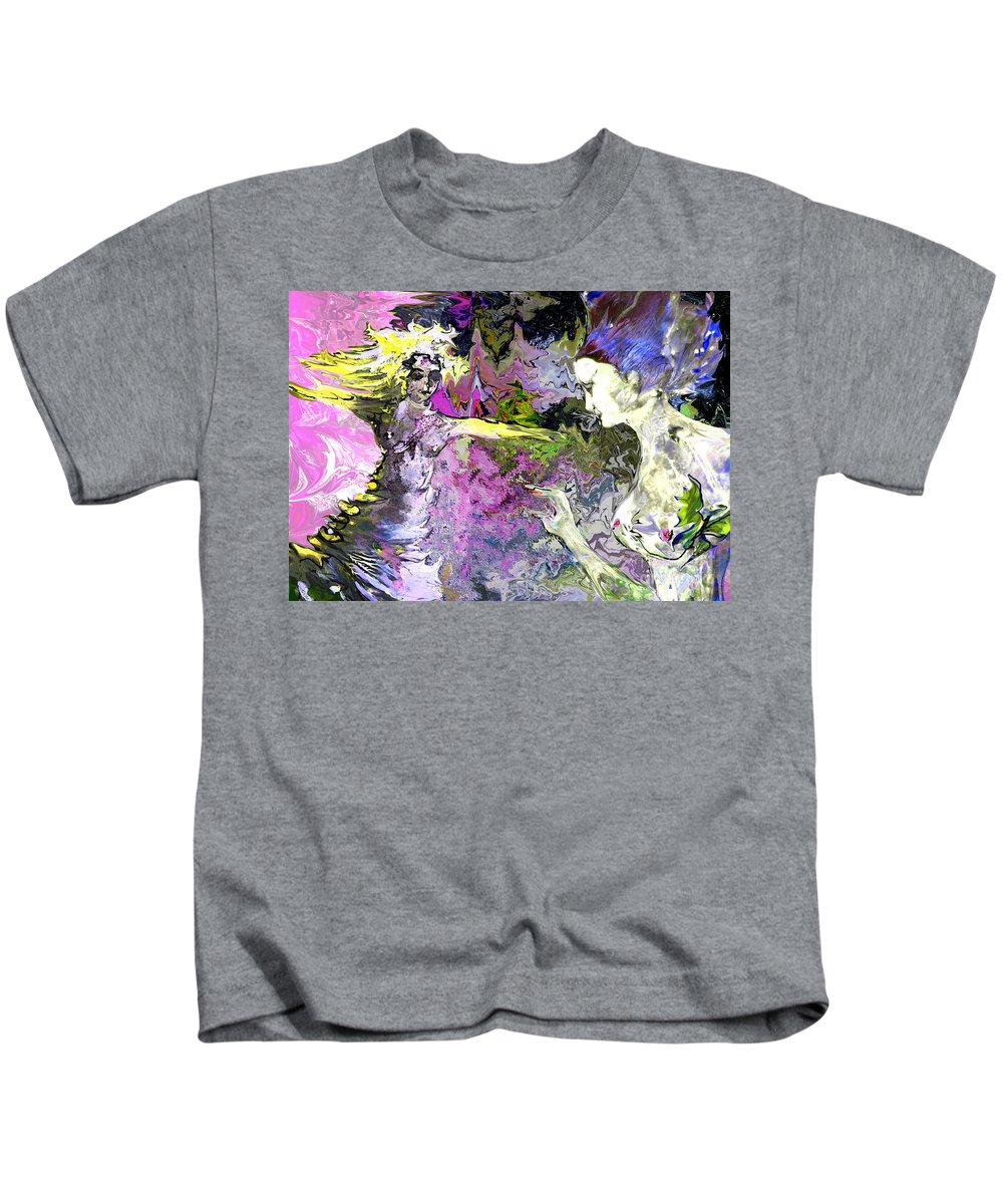 Miki Kids T-Shirt featuring the painting Dance In Violet by Miki De Goodaboom