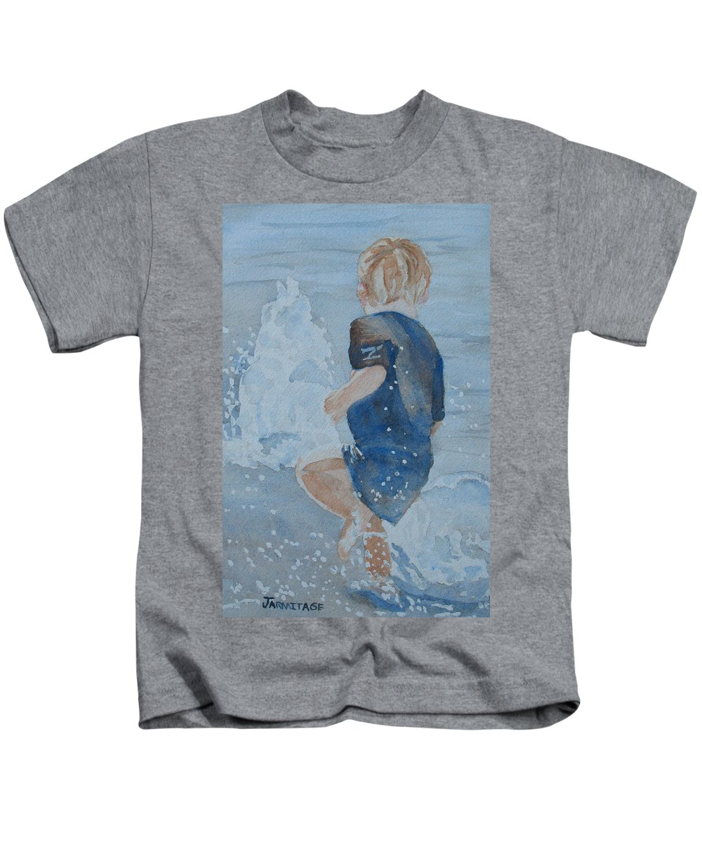 Boy Kids T-Shirt featuring the painting Dances With Fountains by Jenny Armitage