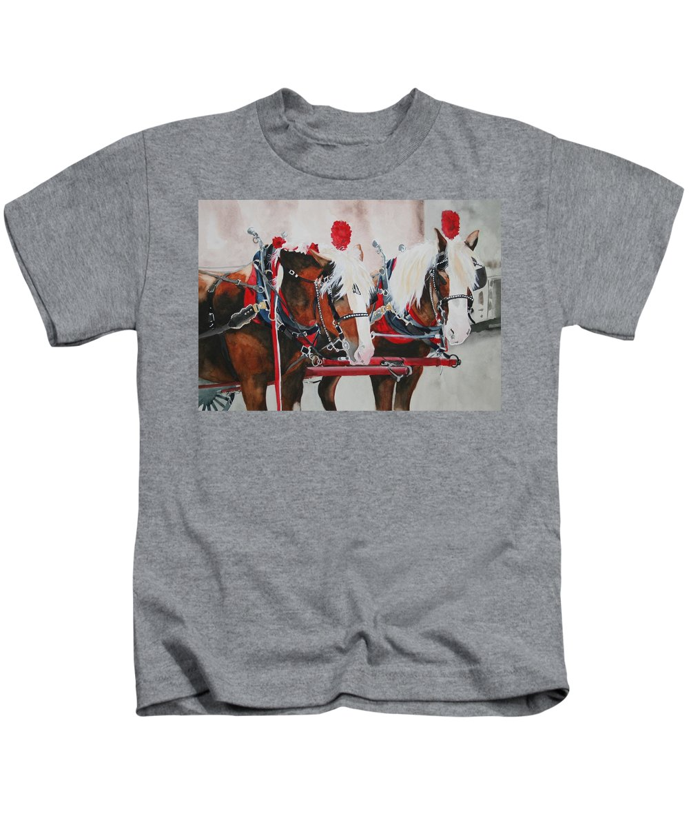 Horse Kids T-Shirt featuring the painting Dandy Duo by Jean Blackmer