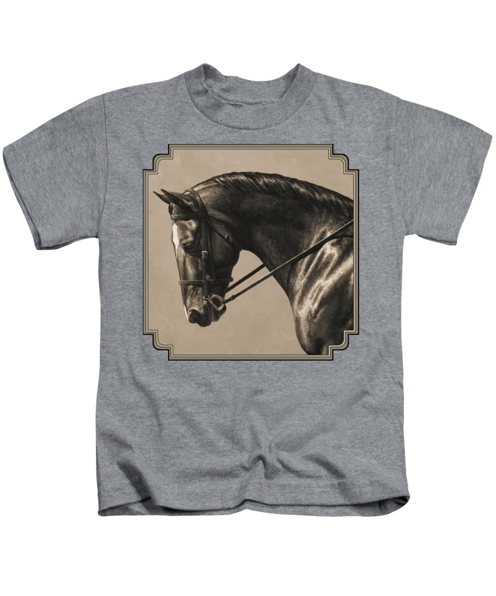 Horse Kids T-Shirt featuring the painting Dark Dressage Horse Aged Photo Fx by Crista Forest
