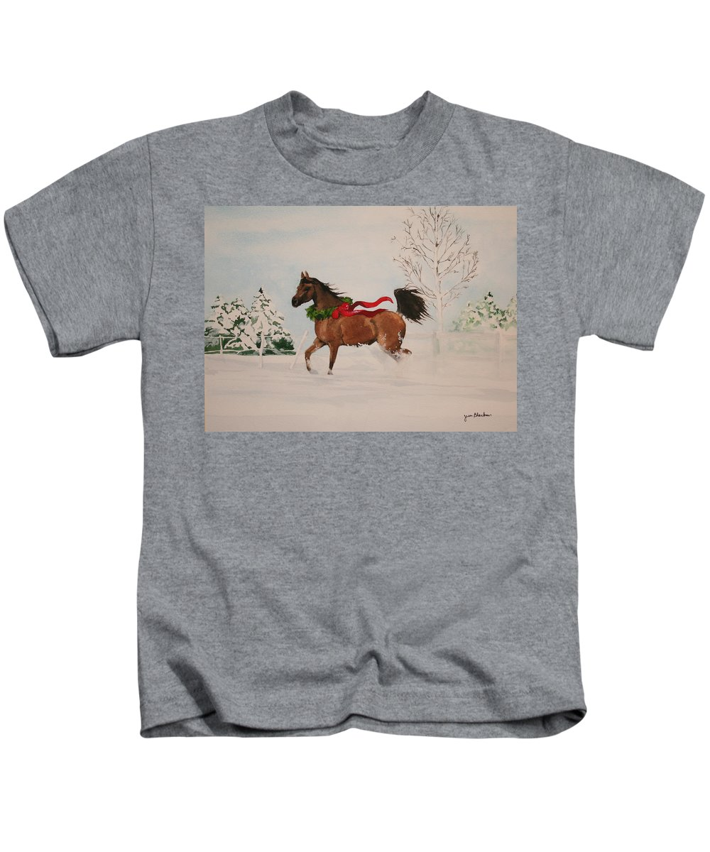 Horse Kids T-Shirt featuring the painting Dashing Thru The Snow by Jean Blackmer