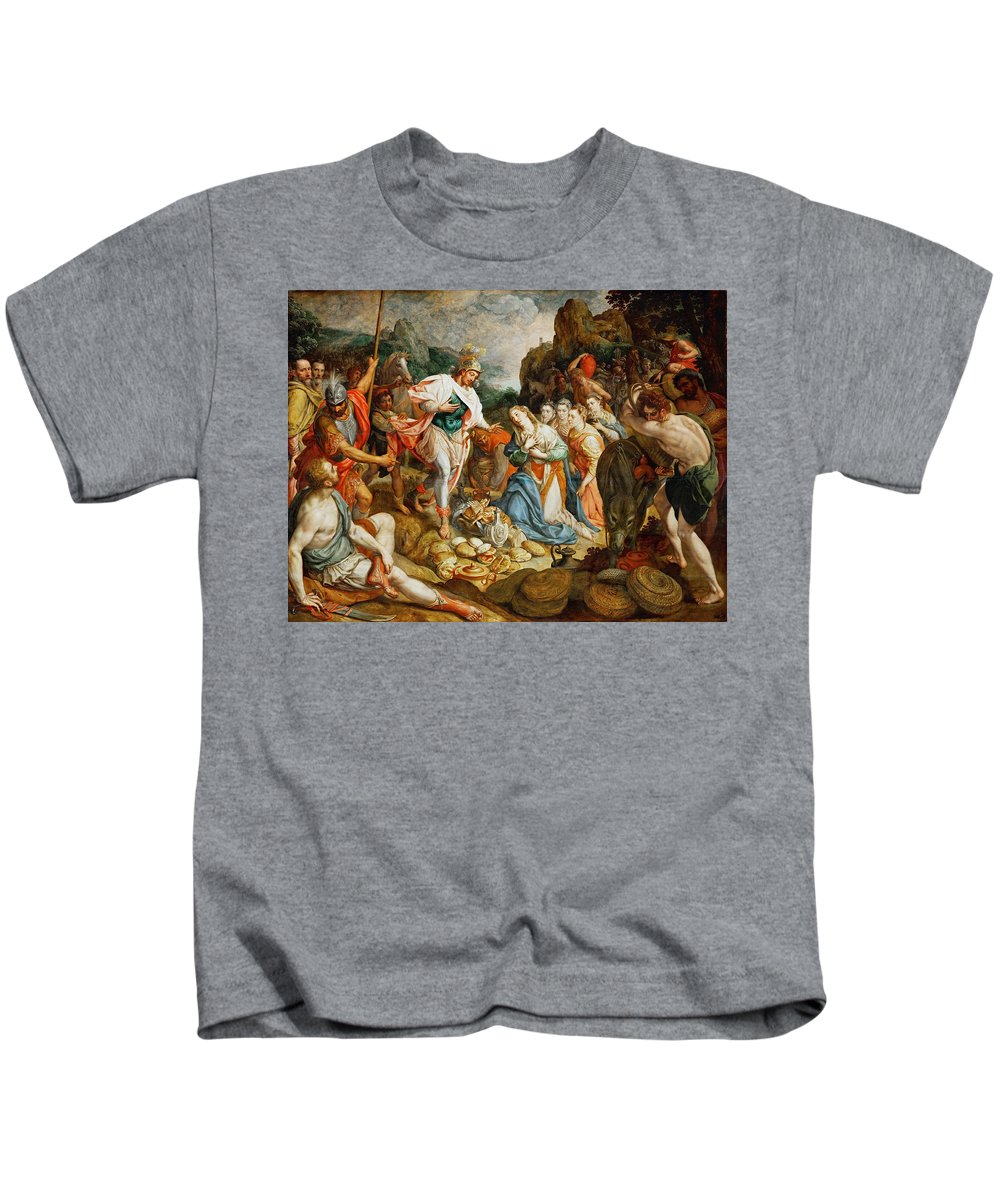 Frans Pourbus The Elder Kids T-Shirt featuring the painting David And Abigail by Frans Pourbus the Elder